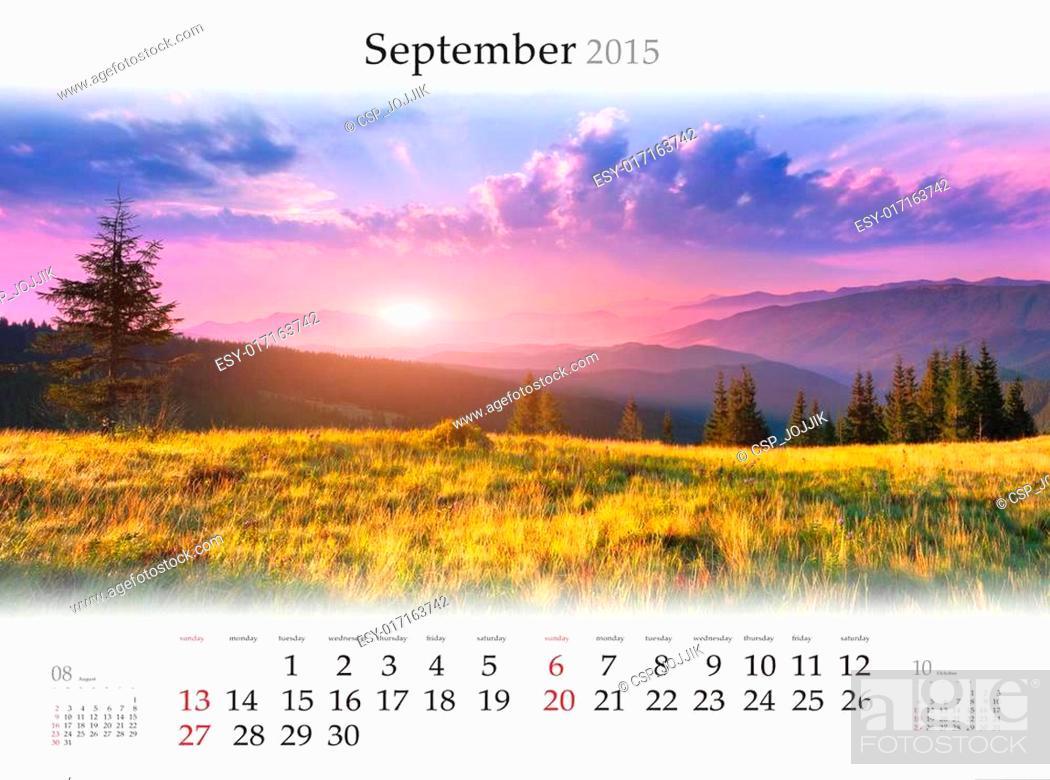 Stock Photo: Calendar 2015. September. Beautiful autumn landscape in the moun.