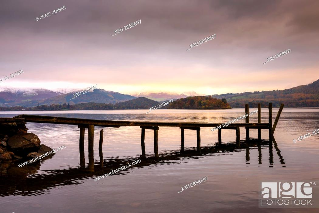 Stock Photo: Jetty at Victoria Bay on Derwent Water in the Lake District National Park, Cumbria, England.
