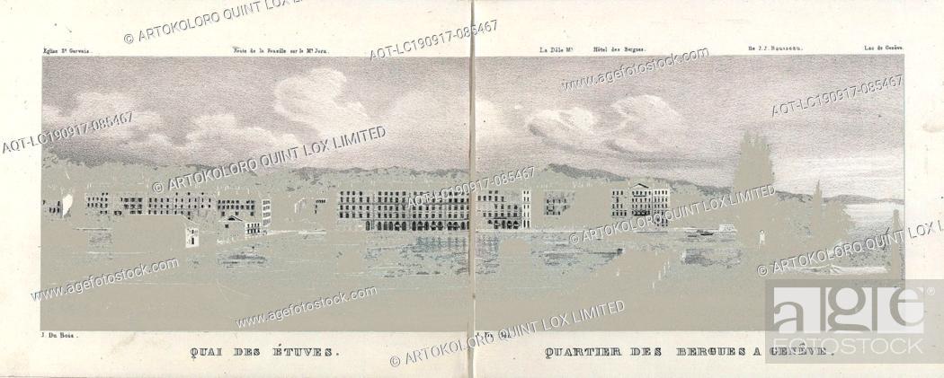 Stock Photo: Quai des Atuves; Bergues district in Geneva, Geneva view, signed: J. Du Bois, S. 170, Dubois, Jean, [Jean Dubois]: Souvenir de la Suisse: 100 vues les plus.