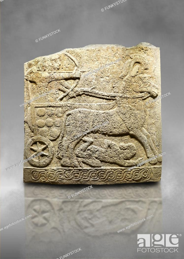 Stock Photo: Hittite relief sculpted orthostat stone panel of Long Wall Limestone, Karkamıs, (Kargamıs), Carchemish (Karkemish), 900 -700 B. C.