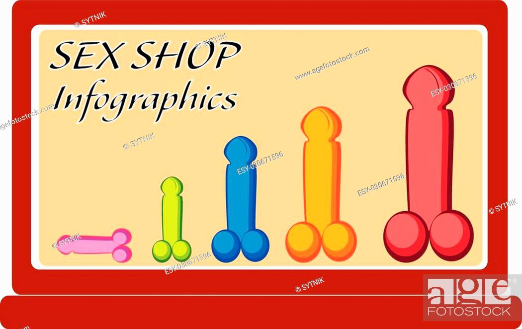 Vector: vector concept design sex shop infographics from penis on screen notebook.