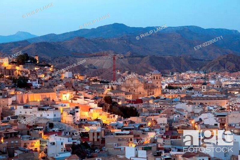 Stock Photo: Od town of Lorca with the cathedral. Province of Murcia, Spain.