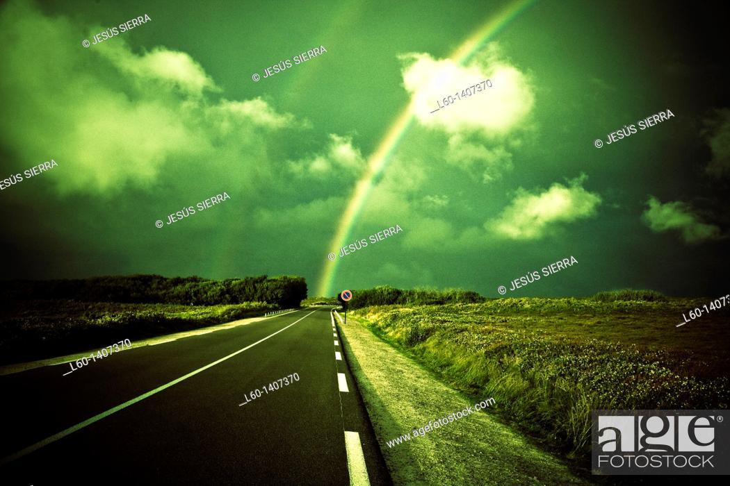 Stock Photo: Rainbow near Cap Fréhel, Brittany, Côtes D'Armor, France.