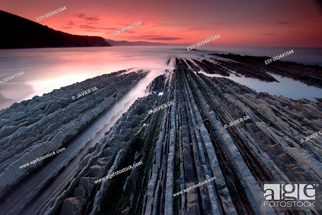 Stock Photo: Beach of Zumaia, Gipuzkoa, Basque Country, Spain.