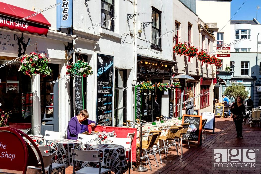 Stock Photo Cafes And Restaurants In Market Street The Lanes Brighton Sus