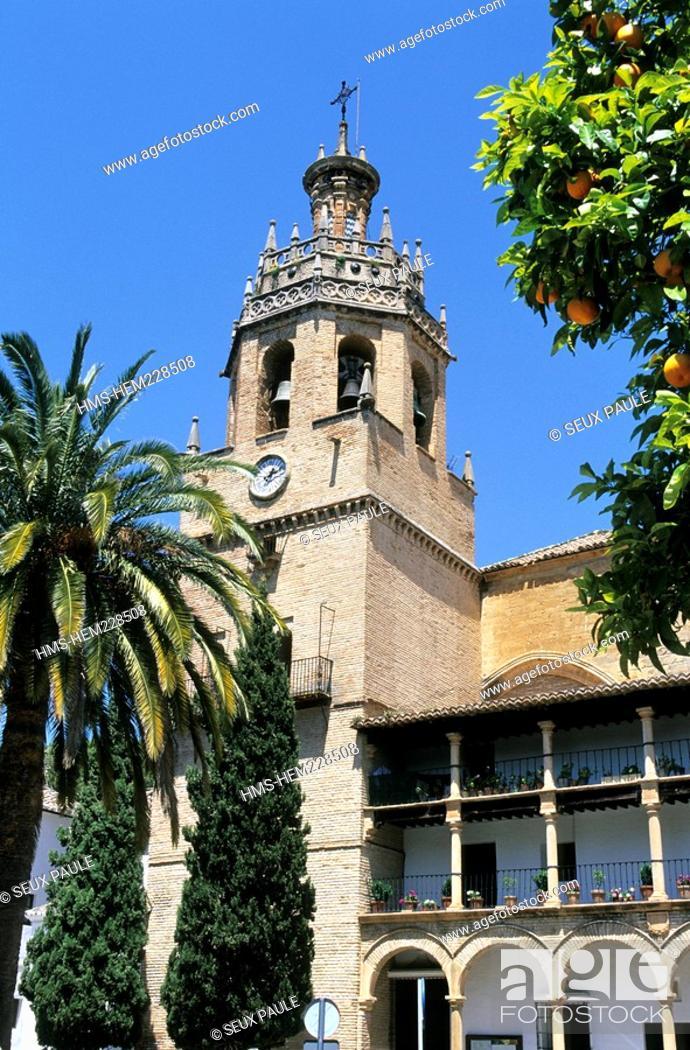 Stock Photo: Spain, Andalusia, Ronda, White village, church of Santa Maria la Mayor.