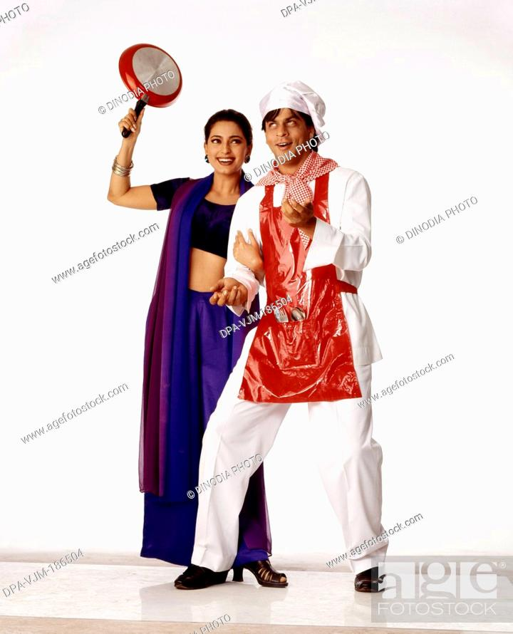 1990, Shahrukh Khan and Juhi Chawla in movie Duplicate, Stock Photo