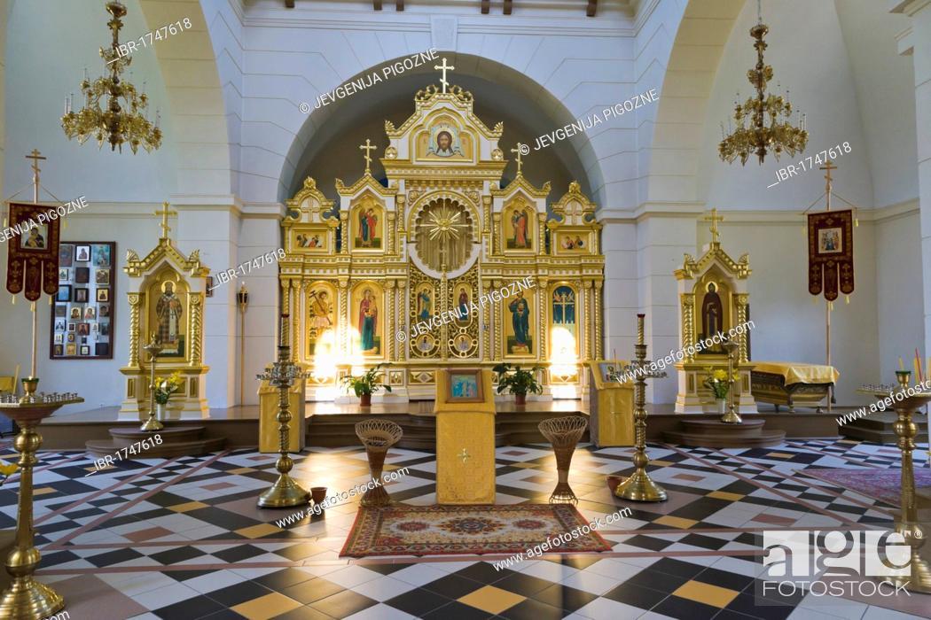 Stock Photo: Interior of Stamerienas Sveta Nevas Knaza Aleksandra Baznica, Orthodox Church of St Alexander Nevsky, Stameriena, Gulbene Municipality, Vidzeme, Latvia.