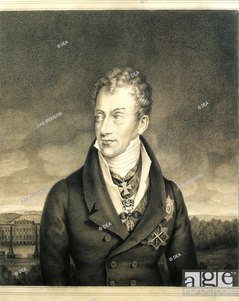 Stock Photo: Moritz Michael Daffinger (1790 - 1849), Portrait of Klemens Lothar, prince of Metternich-Winneburg  Parma, Museo Glauco Lombardi (Art Museum).