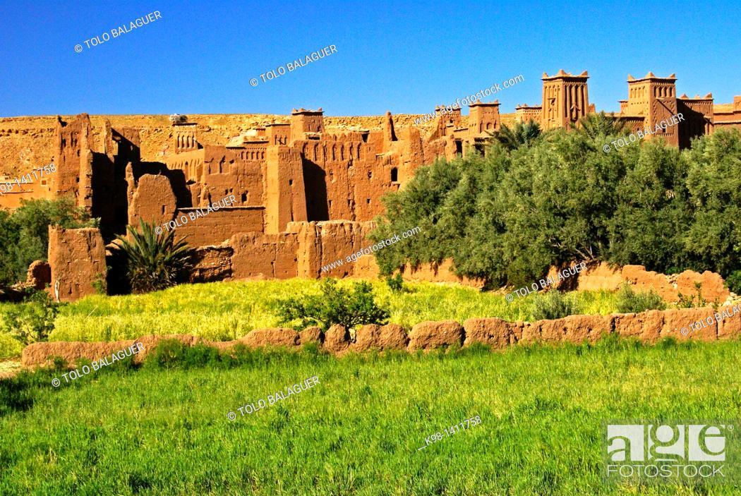 Stock Photo: Kasbah of Aït Benhaddou, XVI Century, Atlas Mountains, Morocco, North Africa Africa.