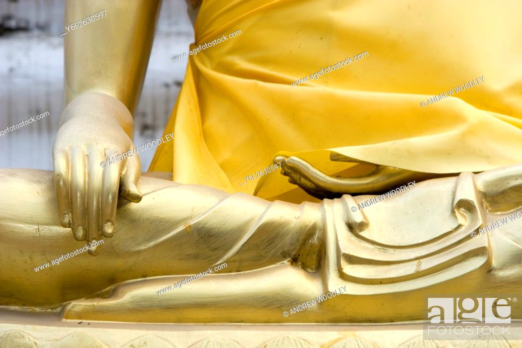 Stock Photo: Symbolic golden hands of Buddha temple Chiang Mai Thailand.
