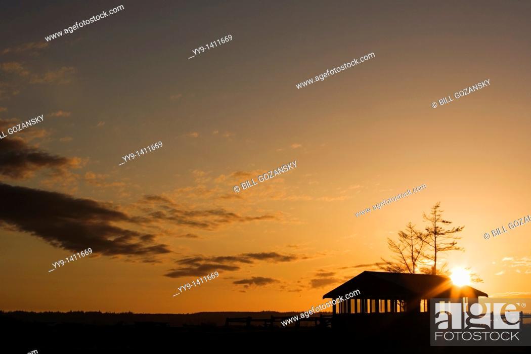 Stock Photo: Picnic shelter at sunset - Camano Island State Park - Camano Island, Washington.