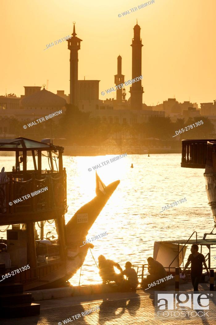 Stock Photo: UAE, Dubai, Deira, Abra water taxis on Dubai Creek.