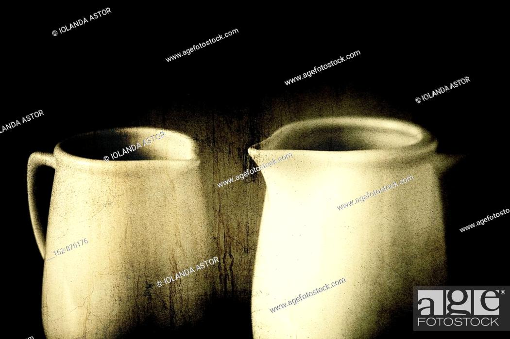 Stock Photo: Two white mugs with steaming hot drink.  Old texture.  Still Life.