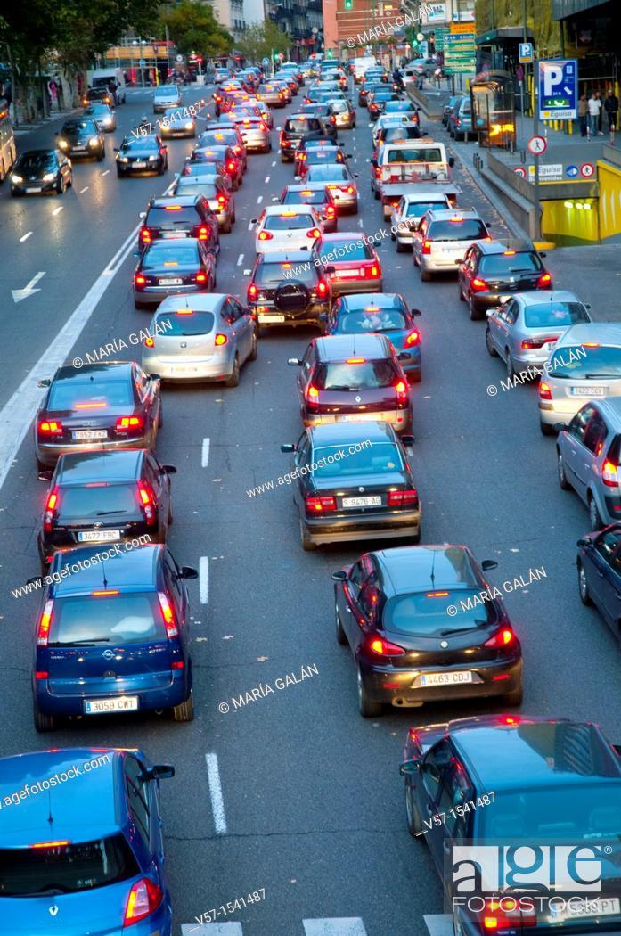 Stock Photo: Traffic jam. Madrid, Spain.