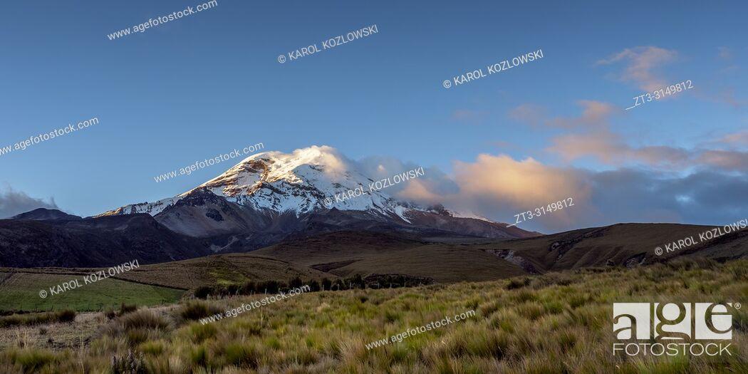 Stock Photo: Chimborazo Volcano at sunset, Chimborazo Province, Ecuador.