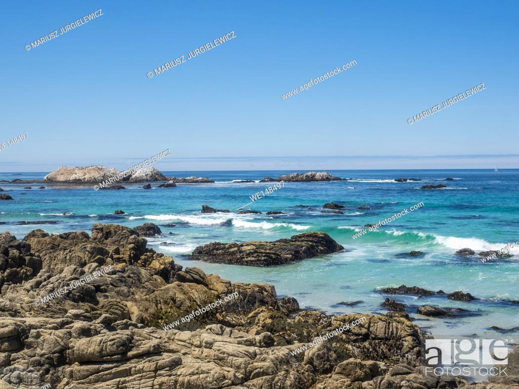 Stock Photo: Point Joe on the famous 17 mile drive is a point where seven ocean currents meet. Several ships have met disaster on this rugged point.