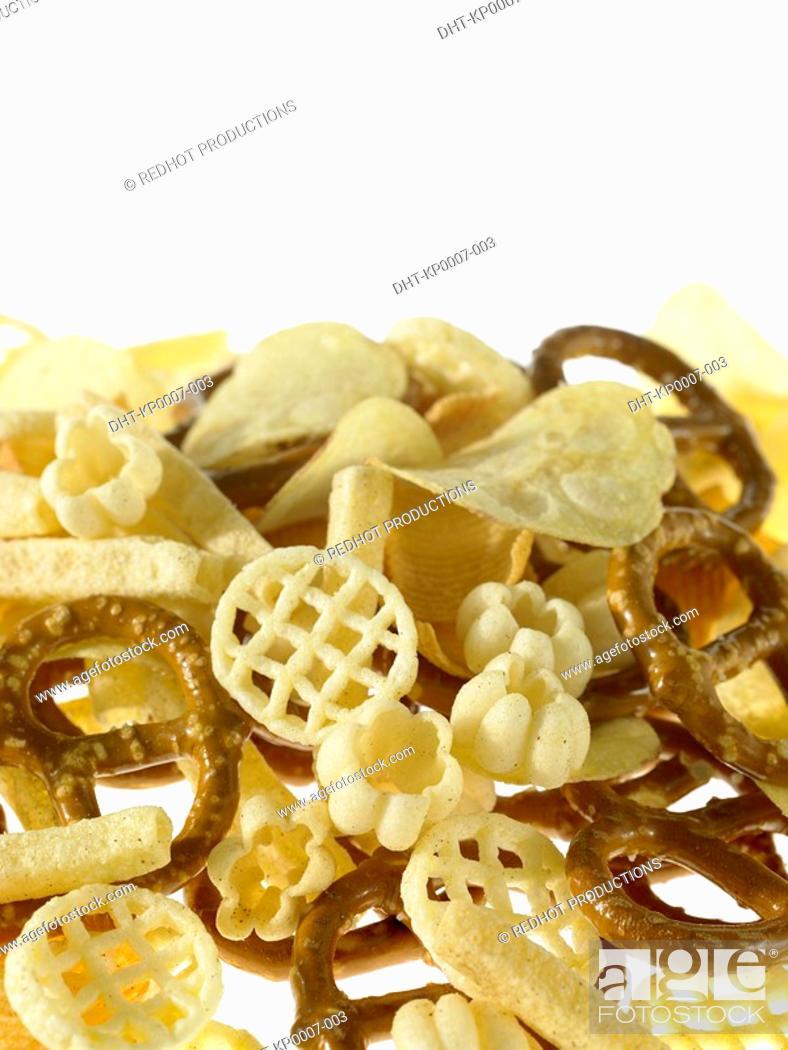 Stock Photo: Assorted Crisps and pretzels.