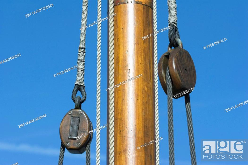 Stock Photo: Boat mast and pulleys, close-up.