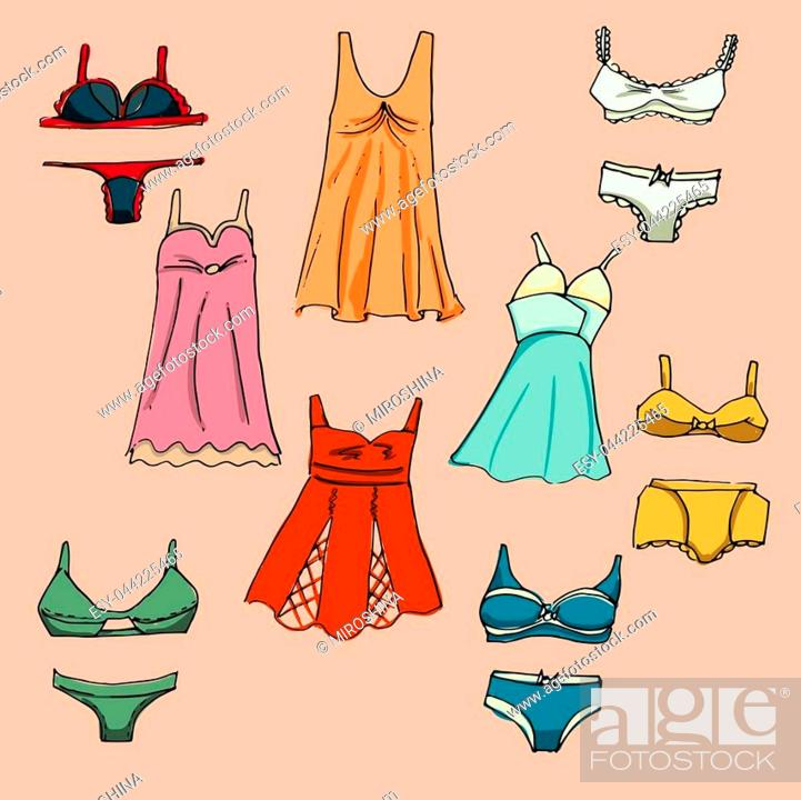 Stock Vector: Fashion underwear set. Illustration in hand drawing style.
