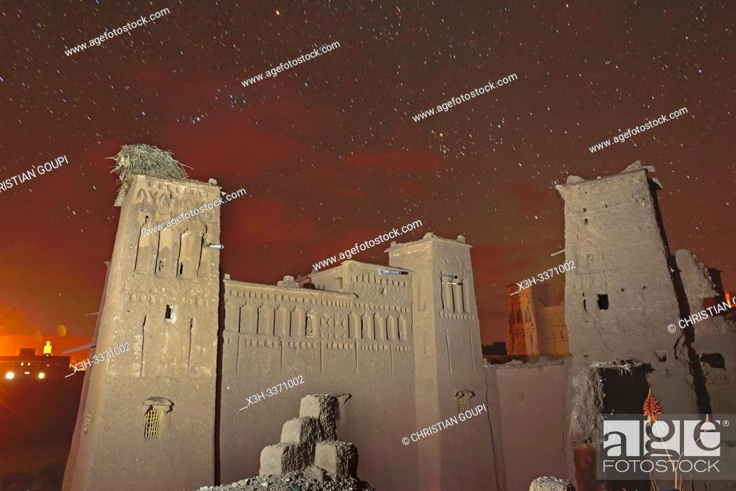 Stock Photo: Kasbah Tebi, guest house in the heart of the Ksar of Ait-Ben-Haddou, Ounila River valley, Ouarzazate Province, region of Draa-Tafilalet, Morocco.
