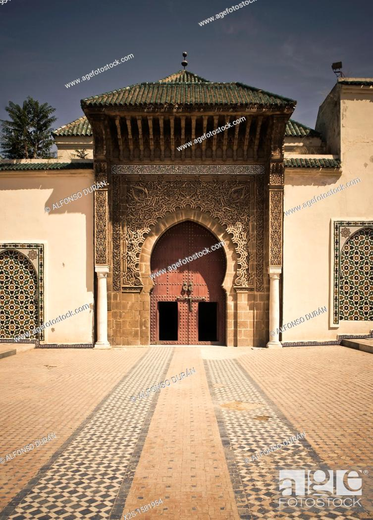 Stock Photo: Entrance to the mausoleum of Moulay Ismail, Meknes, Morocco.