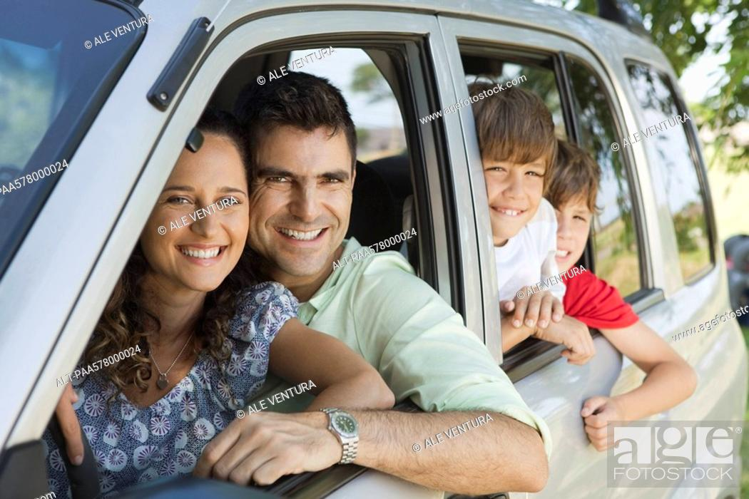 Stock Photo: Family in car, portrait.