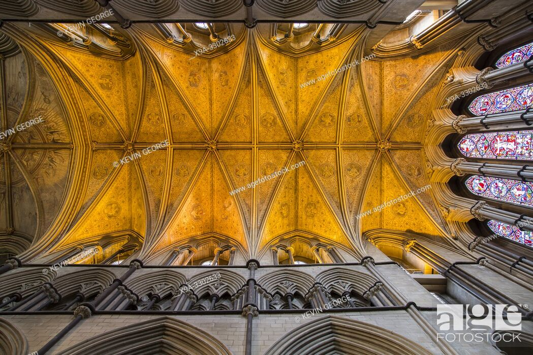 Stock Photo: Ceiling of Cathedral Church, Worcester, England, UK.