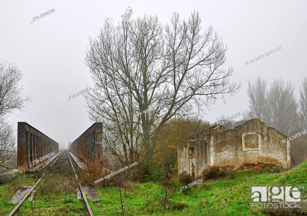 Stock Photo: Via de la Plata. The image is part of the old railway line, now abandoned, Via de la Plata route that ran from Seville to Gijón (Asturias).