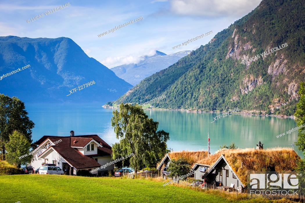 Stock Photo: Lustrafjord fjord, branch of the Sognefjord fjord, Sogn of Fjordane, Norway, Europe.