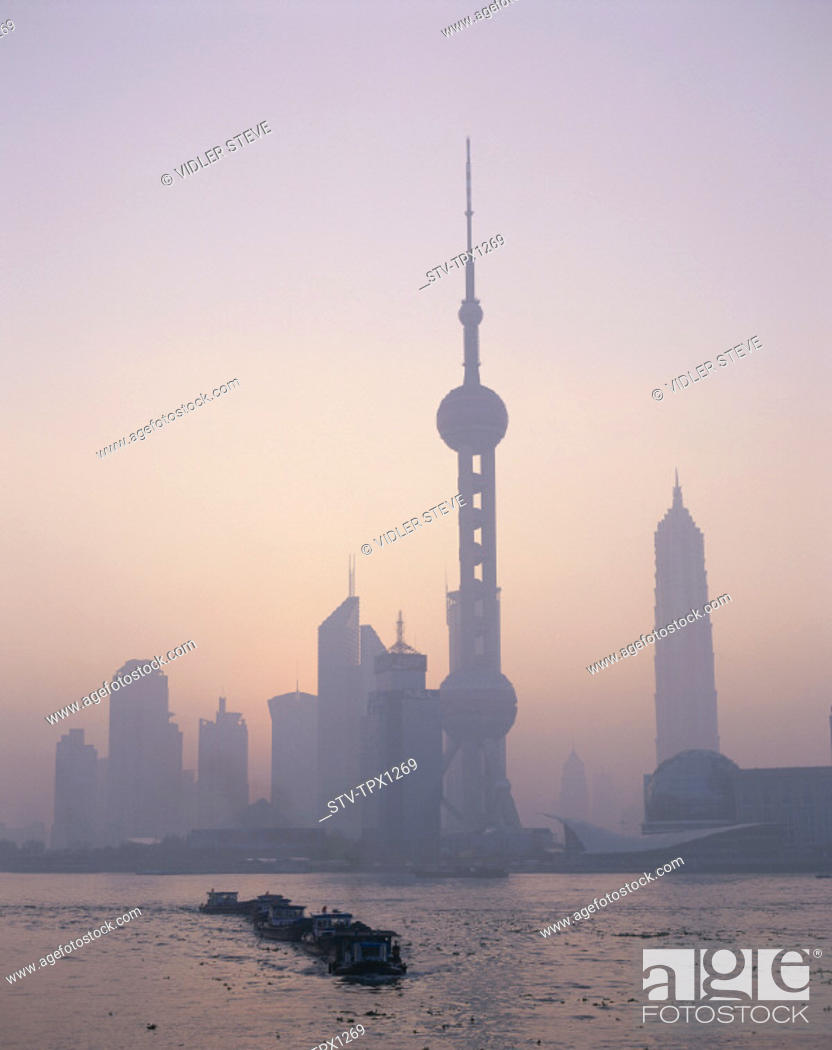 Stock Photo: Asia, China, Holiday, Huangpu, Landmark, Oriental pearl tower, Pudong, River, Shanghai, Skyline, Skyscrapers, Sunrise, Tourism,.