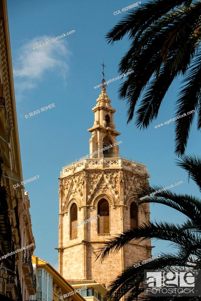Stock Photo: Bell tower Valencia cathedral, Valencia, Spain, Europe.