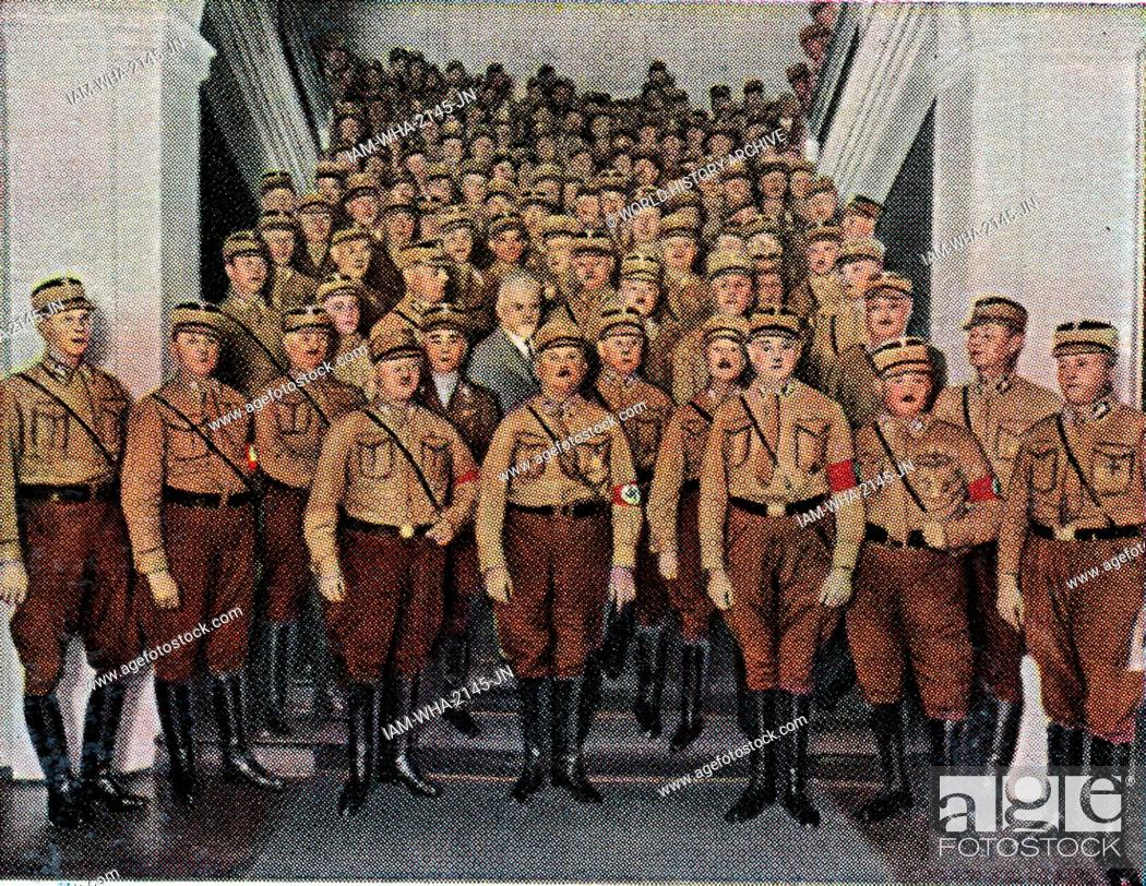Stock Photo: Ernst Roehm Leader of the SA with fellow members at a Nazi gathering, Germany circa 1933.