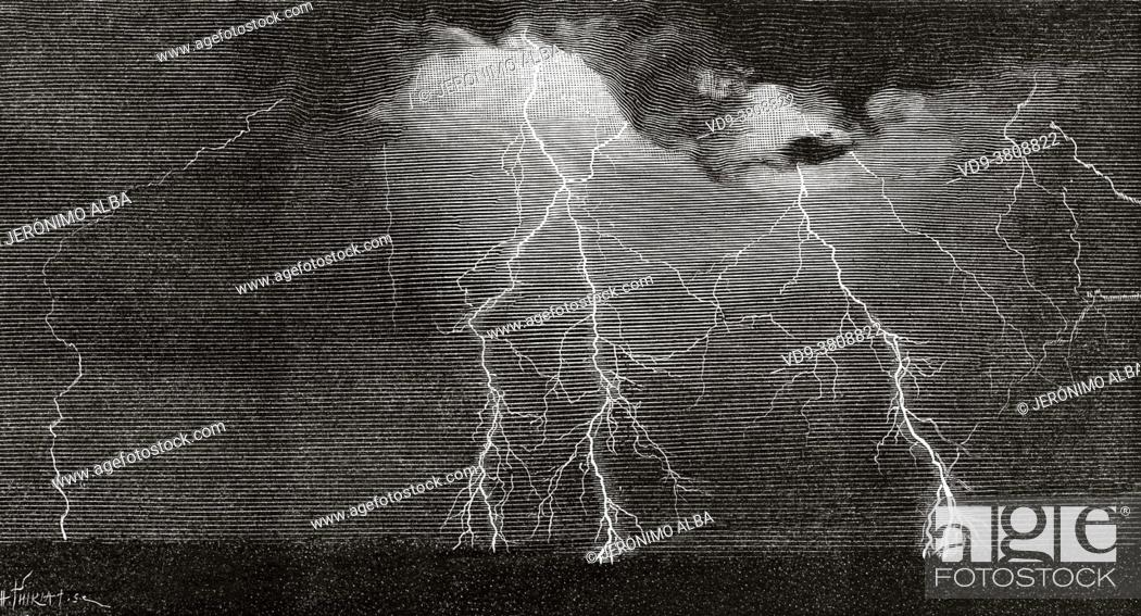 Stock Photo: Engraving from a photograph of lightning taken by Alfred H. Binden in Wakefield, Massachusetts, on June 23, 1888. United States.