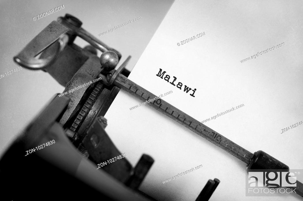 Imagen: Inscription made by vintage typewriter, country, Malawi.