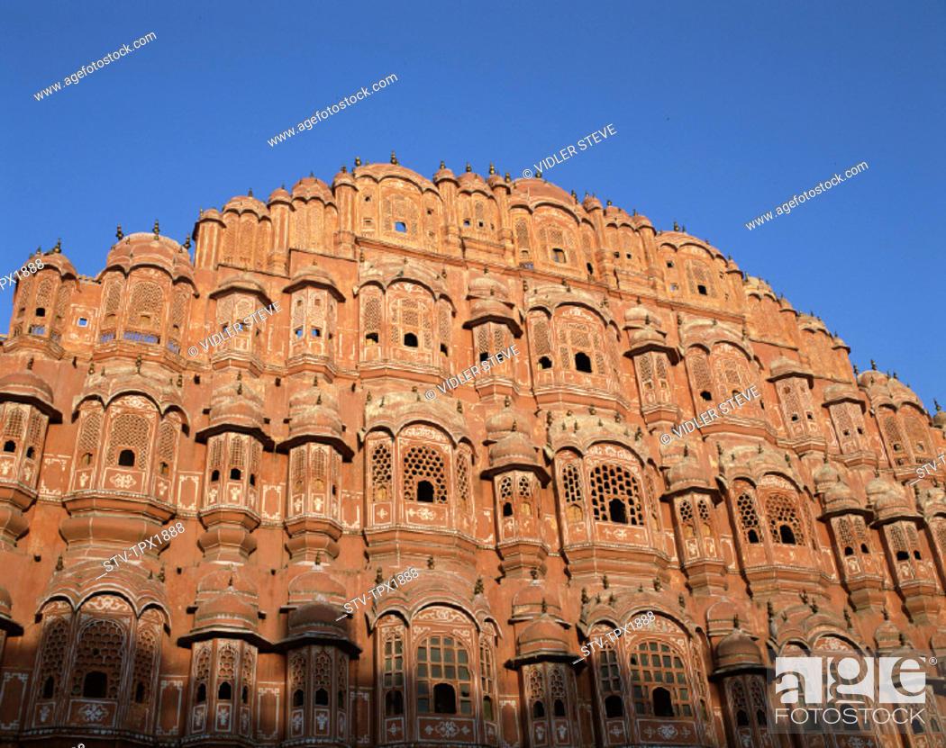 Stock Photo: Hawa mahal, Holiday, India, Asia, Jaipur, Landmark, Palace of the winds, Rajasthan, Tourism, Travel, Vacation,.