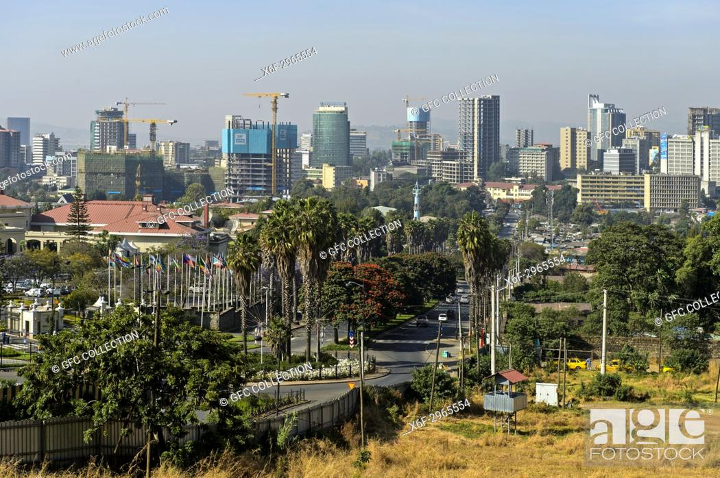 Stock Photo: View of the skyline of Addis Ababa, Ethiopia.