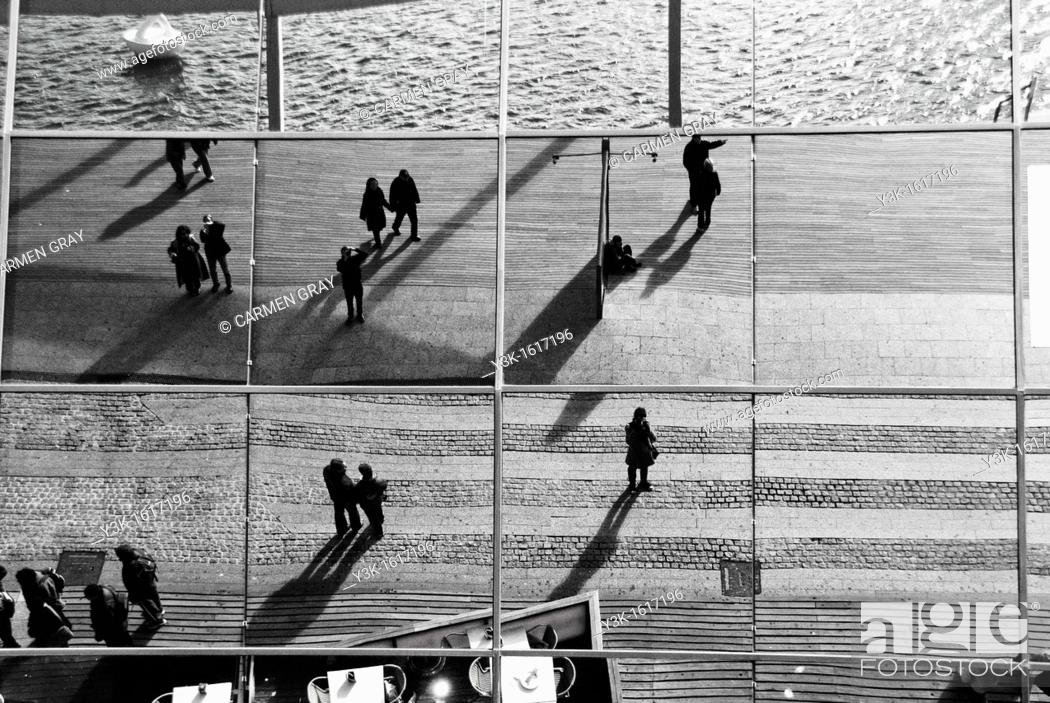 Stock Photo: Reflection in the glass facade of the Maremagnum mall, Port Vell, Barcelona, Catalonia, Spain.