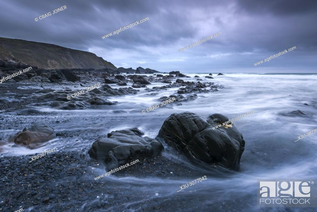 Stock Photo: The rocky shore at Welcombe Mouth on the North Devon Heritage Coast, England.