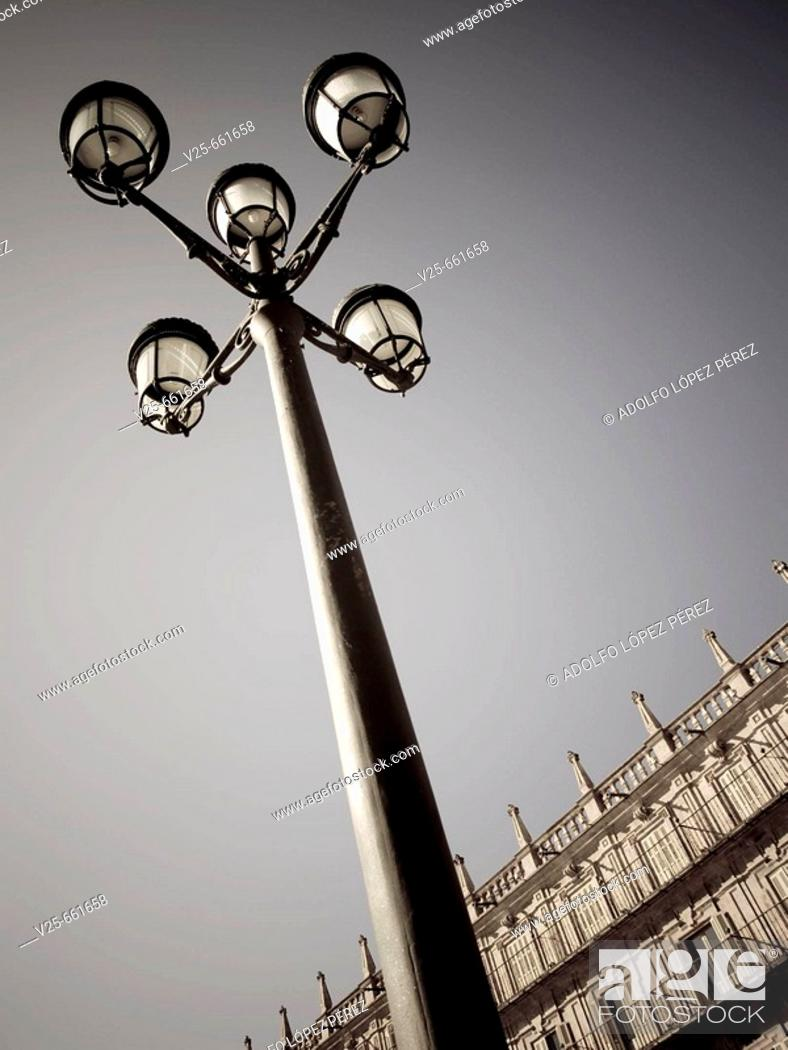 Stock Photo: Street lamp in Plaza Mayor, Salamanca. Castilla-Leon, Spain.
