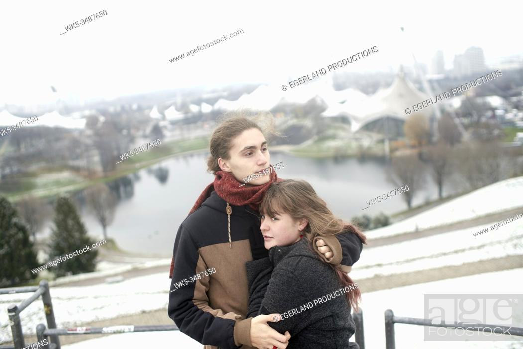 Stock Photo: couple on Olympiaberg in Olympiapark, Munich, Bavaria, Germany.