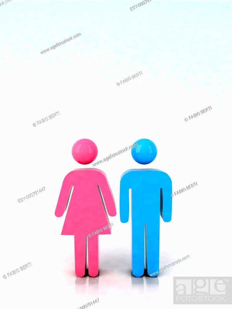 Stock Photo: 3d marriage icon, male and female couple.