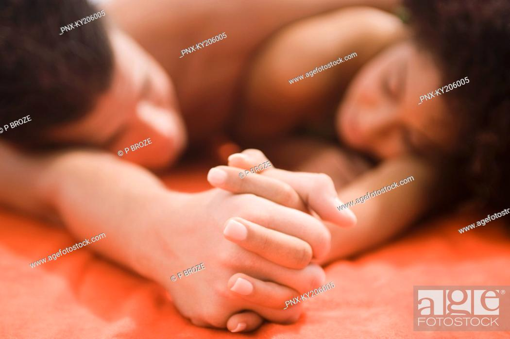 Stock Photo: Close-up of a couple romancing.