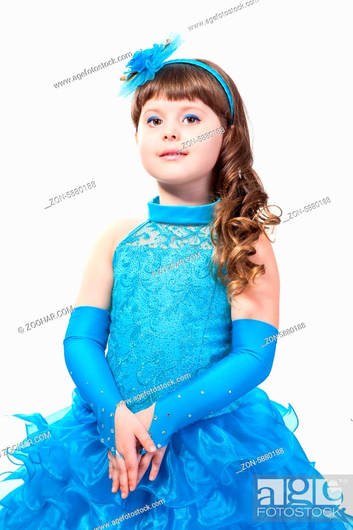 Stock Photo: The young beautiful girl in an evening dress of princess.