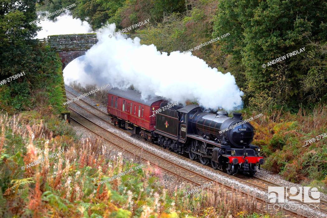 Stock Photo: Steam train LNER Thompson/Peppercorn Class K1 62005 Lord Of The Isles. Cowran Cut, Cowran Cutting, Brampton, Newcastle & Carlisle Railway, N&CR, Cumbria.