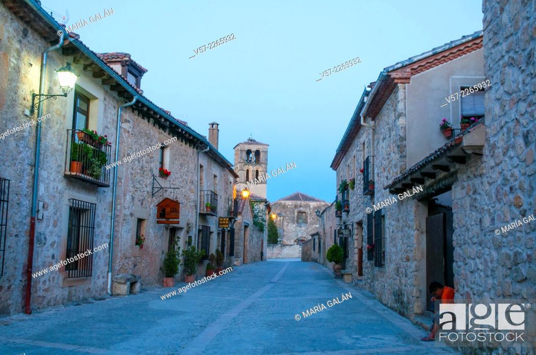 Stock Photo: Mayor street, night view. Pedraza, Segovia province, Castilla Leon, Spain.
