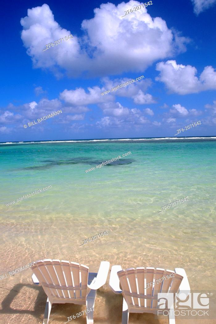 Stock Photo: Chairs on beautiful beach in Cozumel Mexico.