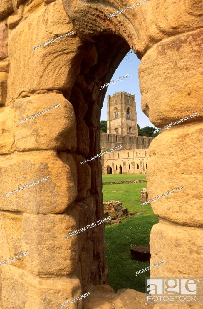 Stock Photo: Castle Seen Through Wall Window.
