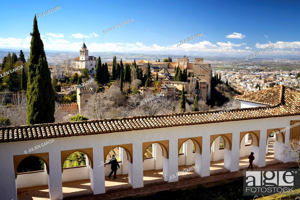 Stock Photo: Spain, Andalusia (Andalucia), Granada, the Alhambra Palace, listed as World Heritage by UNESCO, built between 13th and 14th century by the Nasrid Dynasty.