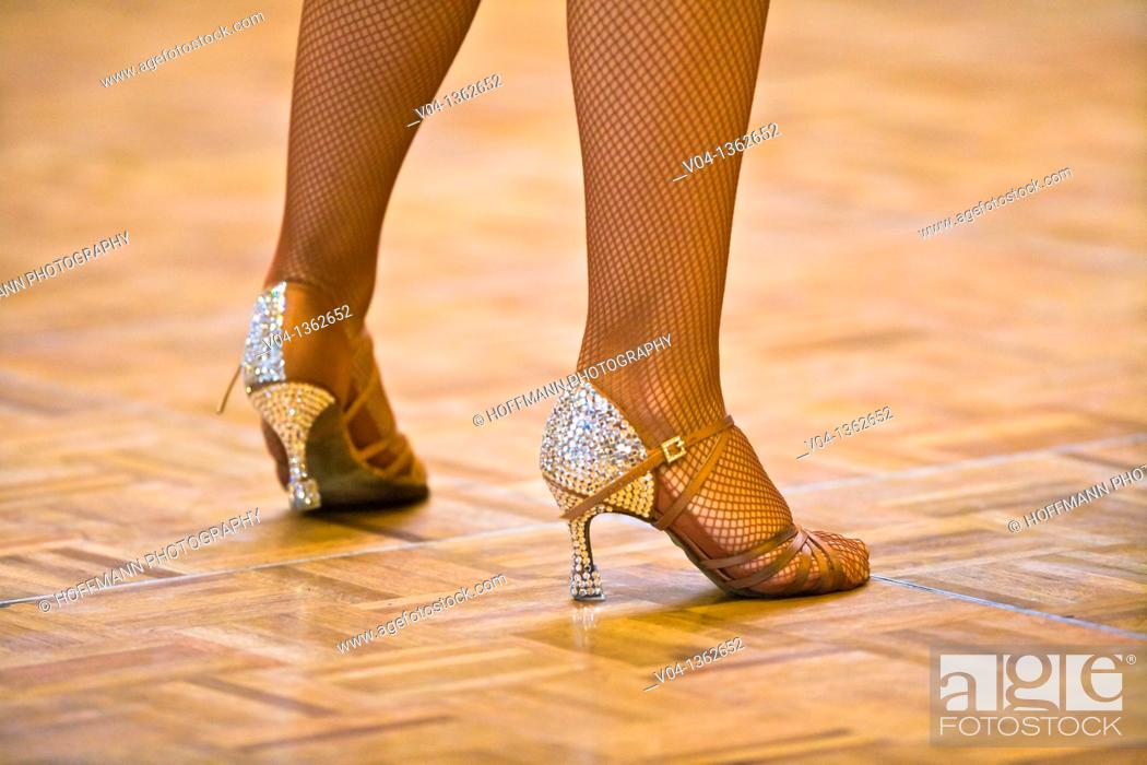 Stock Photo: Detail of a female dancer's dancing shoes at a dancing competition, Germany, Europe.